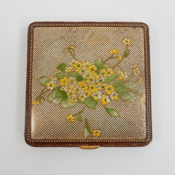Powder Compact Gilt Mesh Hand Painted Floral Enamel Compact, Faux Alligator Brass and Leather Downton Abbey 1930s Compact Rex Fifth Avenue