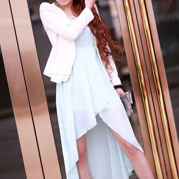 Green Sleeveless Sheath Asymmetrical Chiffon Midi Dress