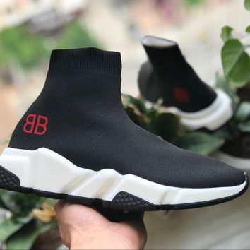 Balenciaga Black and White BB Red Stretch fabric, casual sports shoes, socks boots