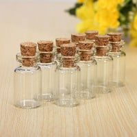 10pcs/set Cute Mini Clear Cork Stopper Glass Bottles Vials Jars Containers Small Wishing Bottle