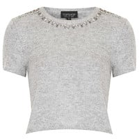 Knitted Crystal Crop Jumper - Topshop USA