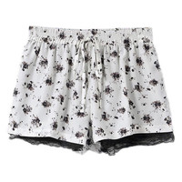 ROMWE Floral Print Drawstring Lace Shorts