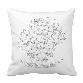 North Carolina State Bird and Flower Coloring Page Outdoor Pillow