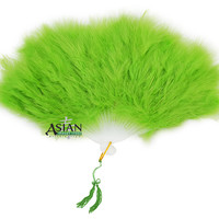 BLOWOUT Feather Hand Fan - Light Lime