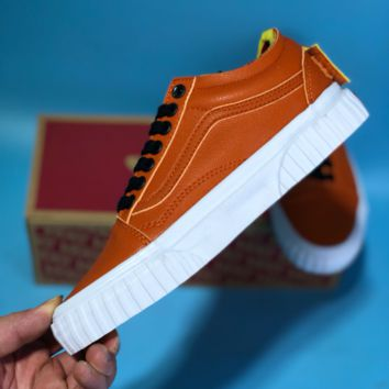 KUYOU Vans Old Skool 2018 John F.Kennedy Space Contor Leather Skate Shoes Orange