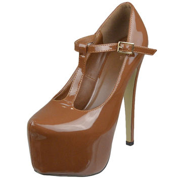Womens Platform Shoes T-Strap Stiletto Pumps Closed Toe Shoes Brown SZ