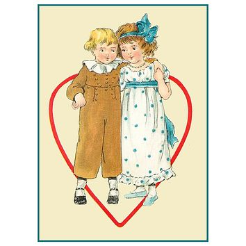 Vintage Valentine Boy Girl Heart Love Counted Cross Stitch Pattern