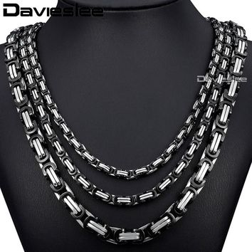 Davieslee Stainless Steel Mens Necklace Black Silver Color Box Byzantine Chain DKNM19