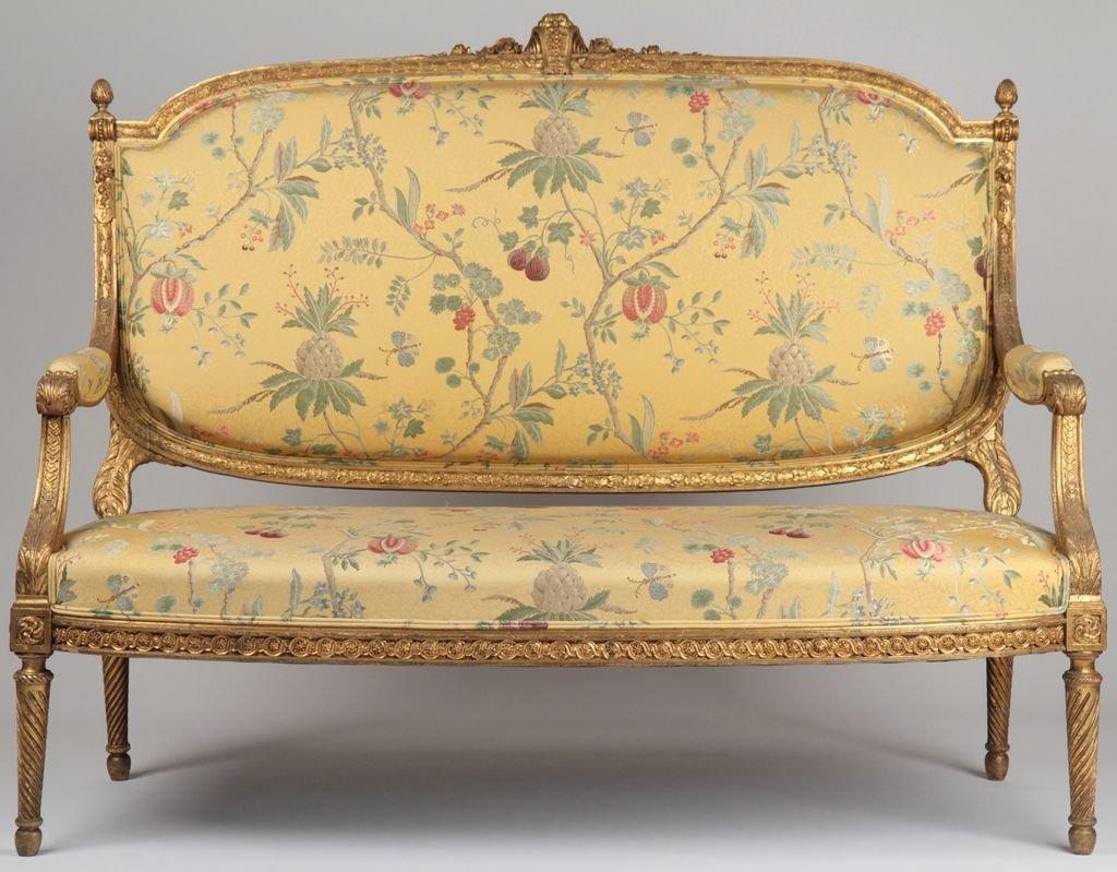 french louis xvi style carved and gilded from rubylane home. Black Bedroom Furniture Sets. Home Design Ideas