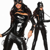 Black Cutout Lace Up Leatherette Cat Costume