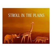 Stroll in the Plains Animals Postcard