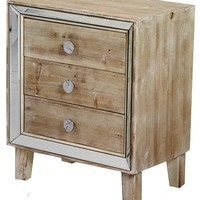 Heather Ann Creations Bon Marche Series 3 Drawer Small Space Saving Square Wooden Cabinet with Mirrored Trim, Whitewash