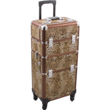 Hiker HK6501 Leopard 4-Wheels Professional Rolling Makeup Train Case