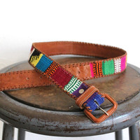 Vintage 70s Southwestern Woven Colorful Leather Belt // Women's Western Belt