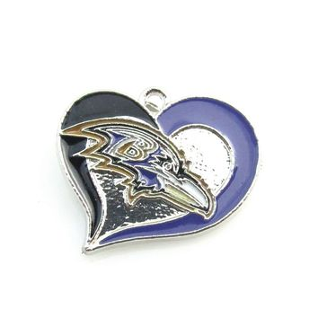 Newest Heart Baltimore Ravens team logo Dangle pendant Alloy Enamel Football Pendant necklace For DIY Sports Jewelry