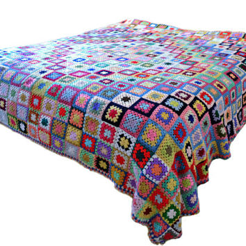 Vintage Granny Square Afghan Blanket Throw Single Bedspread Wool Multicolored Big Large Blue White Red Green Pink Yellow Purple Black