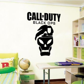 Call of Duty Black Ops - Wall Decal Art Sticker boy's bedroom playroom hall (Color: Black Size: Large)