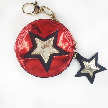 Stars Applique Round Coin Purse Keychain