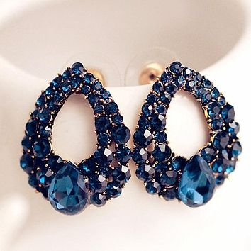 Blue Zircon Stud Women Wedding Earrings