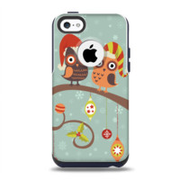 The Retro Christmas Owls with Ornaments Apple iPhone 5c Otterbox Commuter Case Skin Set
