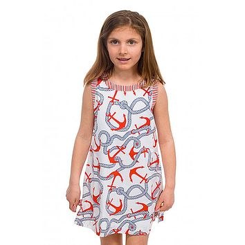 Girls Anchors Away Cotton Dress in Navy/Red by Gretchen Scott Designs