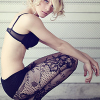 Black Lace Cut-out Detail  Pantyhose