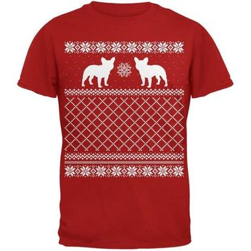 DCCKJY1 French Bulldog Ugly Christmas Sweater Red Adult T-Shirt