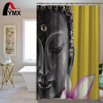 Polyester Buddha Statue Waterproof Shower Curtain with 12 Hooks
