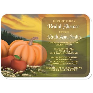 Country Autumn Harvest Bridal Shower Invitations