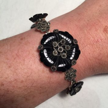 Vintage Hand Made 925 Sterling Silver Crystal Filligree Black Rose carved Onyx Bracelet