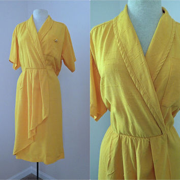 Vintage 80s Bright Yellow Orange Dress // Crossover Collar // Ruffle and Flow // Short Sleeves // Large