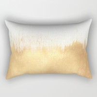 Brushed Gold Rectangular Pillow by Caitlin Workman