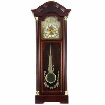 """Bedford Clock Collection 33"""" Antique Cherry Oak Finish Chiming Wall Clock with Roman Numerals"""