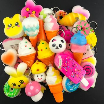 10PCS Random Squishy Panda Bread Ice Cream Slow Rising Cute Phone Straps Cake Buns Pendant Toy Kid Squeeze Scented  Charms