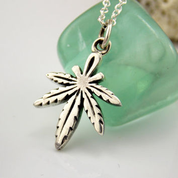 Marijuanna Necklace, Marijuana Leaf Necklace, Sterling Silver Marijuana, Weed Necklace, Cannabis, Pot Leaf Necklace, Grass, Marijuanna