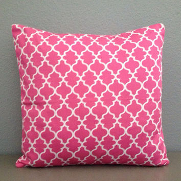 Pink White Lattice Twill Decorative Pillow Cover 18in Accent Pillow Toss Pillow Modern Pillow Nusery Decor Home Decor Cotton Envelope pillow