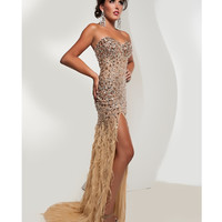 Jasz Couture 2014 Prom - Strapless Gold Feather Gown With Rhinestones