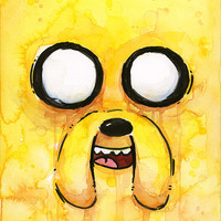 Jake the Dog Portrait Watercolor, Art Print, Giclee, Adventure Time Cartoon Fan Art
