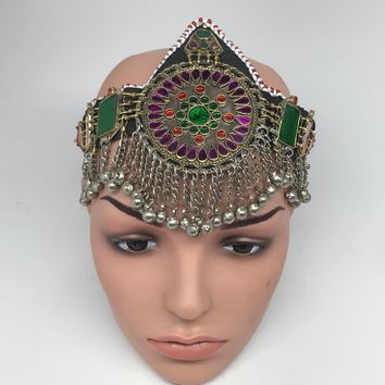 Kuchi Headdress Headpiece Afghan Ethnic Tribal Jingle Alpaca Bells Glass,CK642