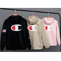 Champion 2018 new behind the printing couple models fashion casual sports jacket hooded jacket