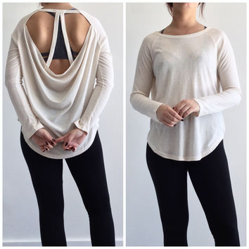 Open Back Ribbed Tunic in Light Taupe