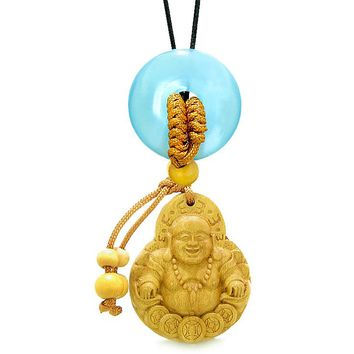 Magic Happy Buddha Car Charm Home Decor Blue Simulated Cats Eye Lucky Coin Donut Protection Amulet