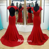 Open Back Cap Sleeve Sweetheart Mermaid Prom Dress, Formal Gown