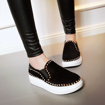 Women Platform Studded Wedges Shoes Round Toe Loafers