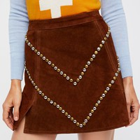 Free People Heavy Metal Suede Skirt