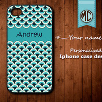 Personalized iPhone Case - Plastic or Silicone Rubber Monogram iPhone 4 4S Case Cover - K016
