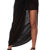 Black Tulip Ruched Maxi Skirt