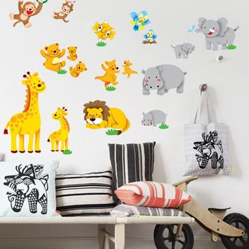 Jungle animal lion monkey elephant zoo wall stickers for kid room 0145 vinyl wall decals