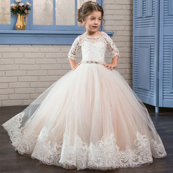 Puffy Kids Prom Graduation Holy Communion Dresses Half Sleeves Long Pageant Ball Gown Dresses For Little Girls Glitz 2017