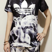 """Adidas"" Women Fashion Smoke Print Short sleeve Top Shorts Sweatpants Set Two-Piece Sportswear"